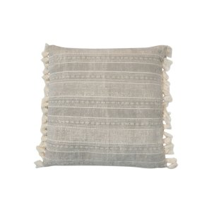 The Jan: Gray Tassel Floor Pillow