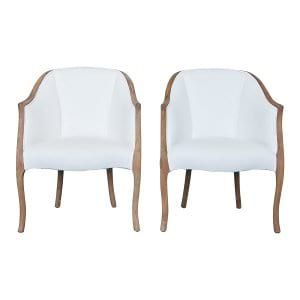 The Robins: White Mid Century Club Chairs
