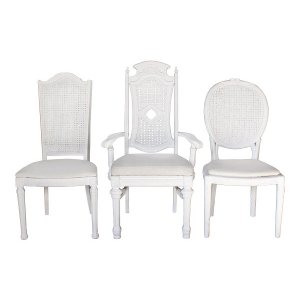 The Lafayette White Distressed Caned Back Chairs