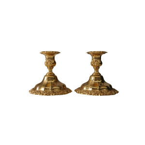 The Theodora: Set of 2 Gold Candlesticks Holders