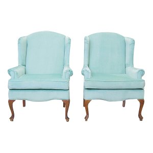 The Abigails: Seafoam Velvet Chairs