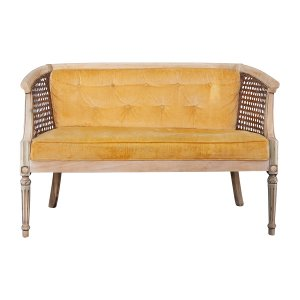 The Butterscotch: Velvet Yellow Settee