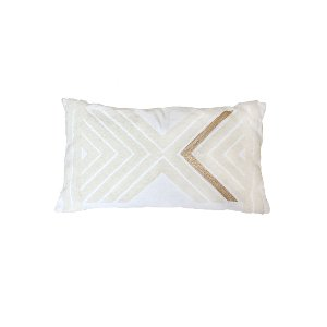 The Mercer: White & Gold Geo Pillow