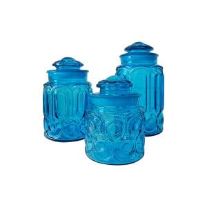 The Raines: Turquoise Glass Canisters