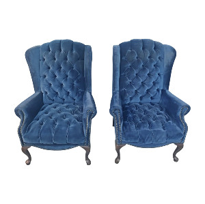 The Elliots: Navy Wingback Chairs