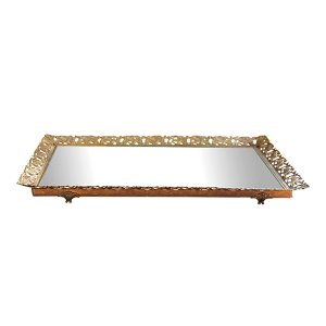 The Cecily: Rectangular Gold Mirror Tray