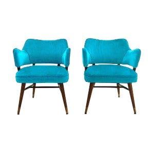 The June Bug: Turquoise Velvet Midcentury Chairs
