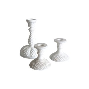 The Clara: Milk Glass Candlestick Holders