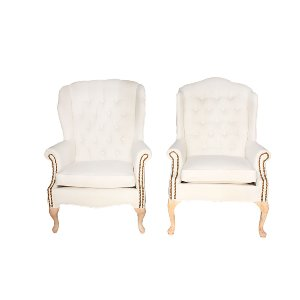 The Carsons: Cream Tufted Wingback Chairs