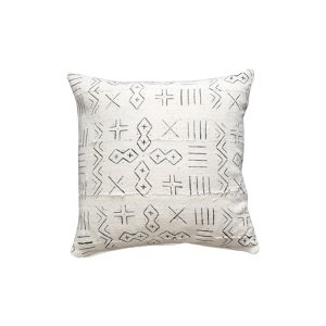 The Asha: White Mudcloth Pillow