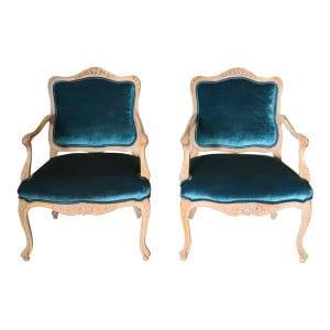 The McCoys: Vintage Peacock Green Velvet Chairs