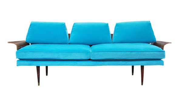The Lady Bird: Velvet Midcentury Sofa