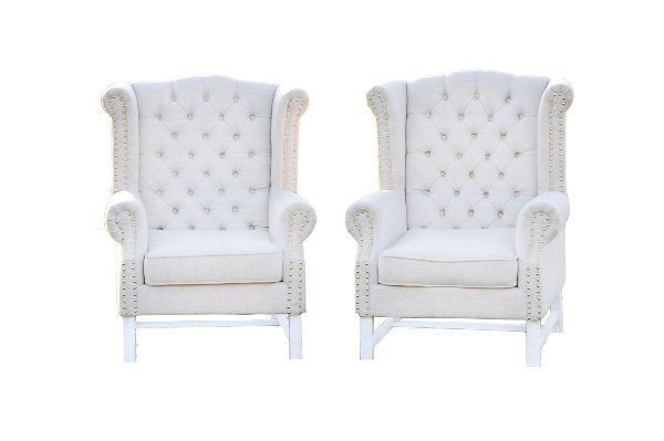 The Rosemarys: Linen Tufted Wingbacks Chairs