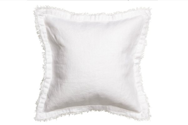 The Clara: Raw Edge White Linen Pillows