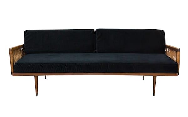 The Salvatore: Black Velvet Midcentury Sofa