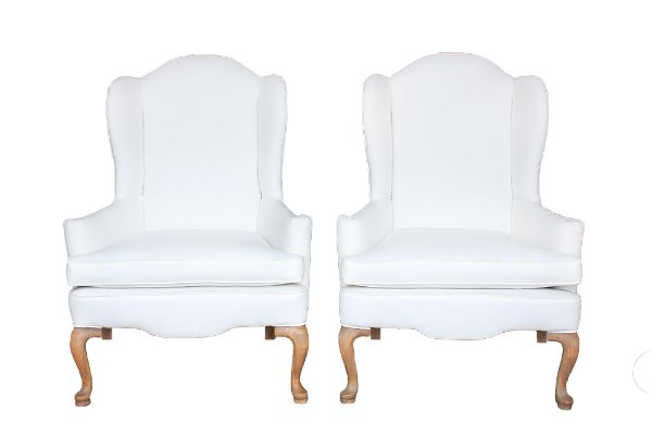 The Lorraines: White Wingback Chairs