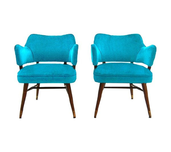 The June Bug: Turquoise Velvet Midcentury Chairs