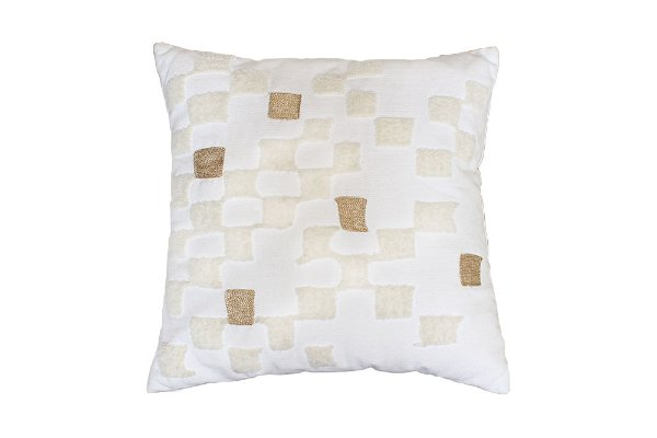 The Granger: White & Gold Checkered Pillow
