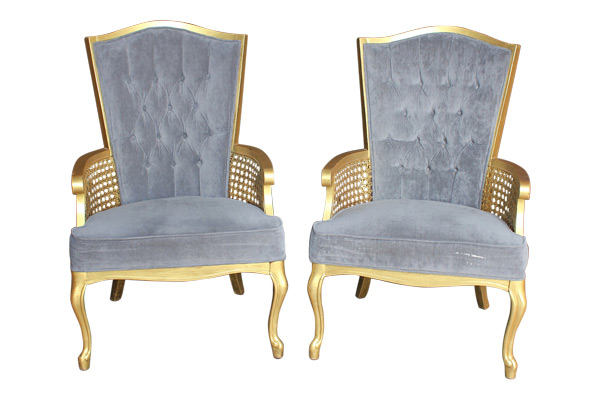 The Baldwins: Gray Tufted Chairs