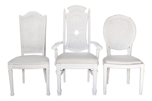 The Lafayette: White Distressed Caned Back Chairs