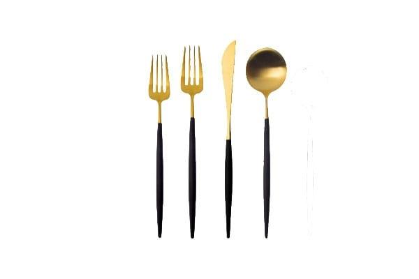 The Kai: Handmade Gold + Black Flatware Set