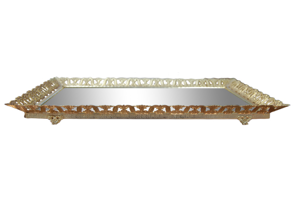 The Callie: Rectangular Gold Mirror Tray