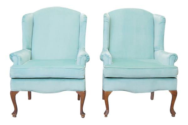 The Abigails: Seafoam Velvet Chairs