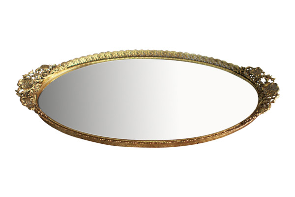 The Elaine: Oval Gold Mirror Tray