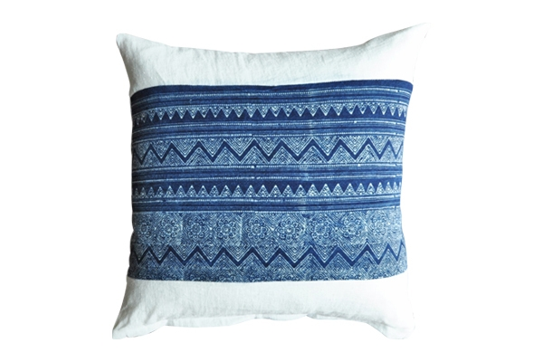 The Paisley: White + Blue Pillow