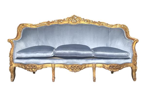 The Samantha: Dusty Blue Velvet Sofa