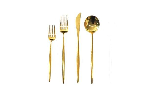 The Ayla: Handmade Gold Flatware Set