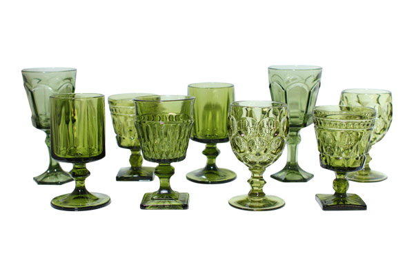 Indian Green Glass Goblets