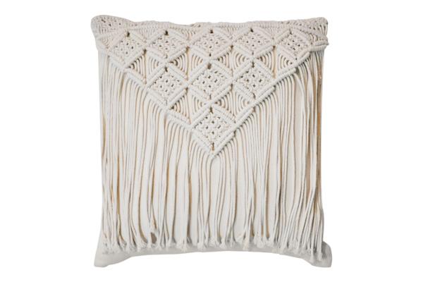 Cream Fringe Pillow
