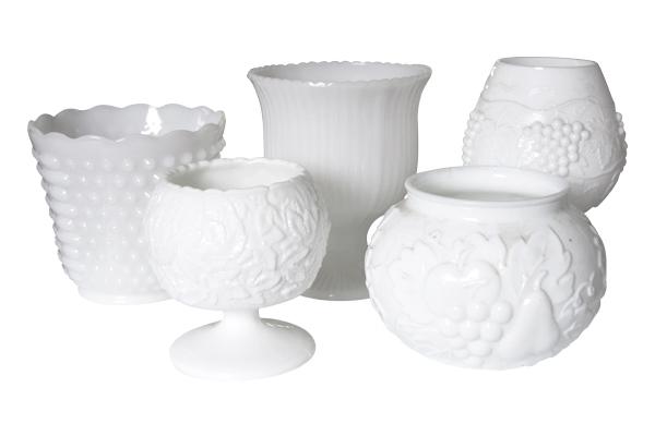 The Chalk Hill: Round Milk Glass Vases