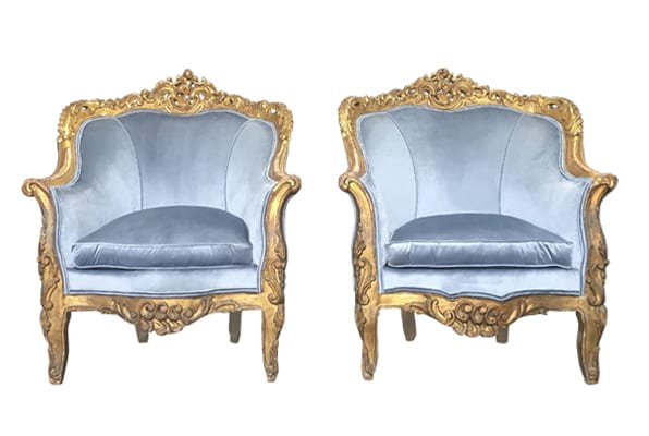 The Hannalores: Dusty Blue Velvet Chairs