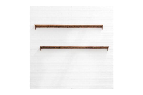 The Hampden: 8' White Brick Wall Backdrop with Shelves