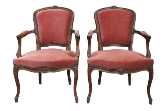 The Maes: Dusty Rose Velvet Chairs