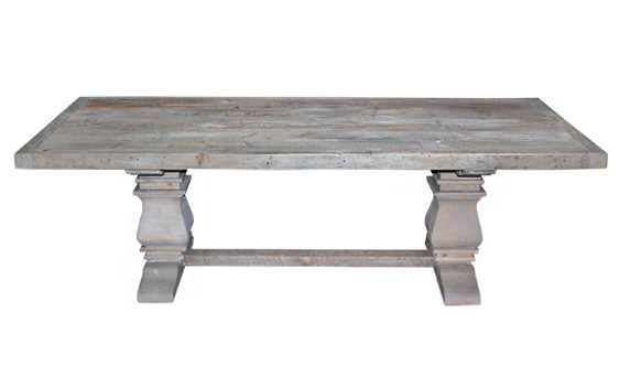 The Etoile Gray Washed Pedestal Farm Table