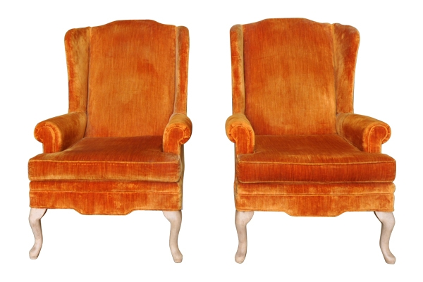The Gingers: Orange Wingback Chairs