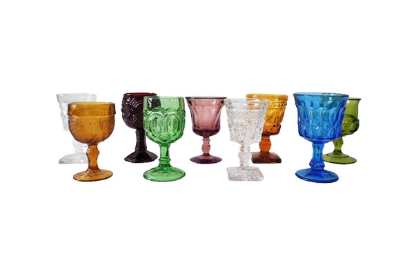 Mixed Colored Mini Glass Goblets