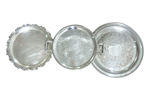The Perry: Assorted Round Silver Trays