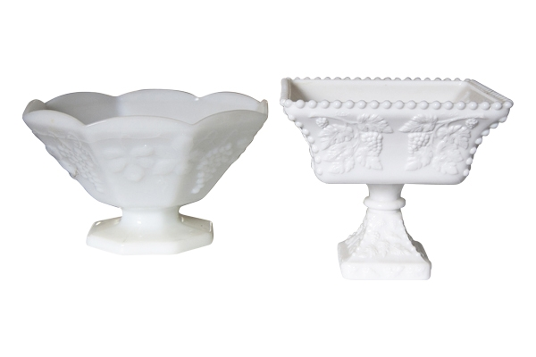 The Park Hill: Large Assorted Milk Glass Compotes