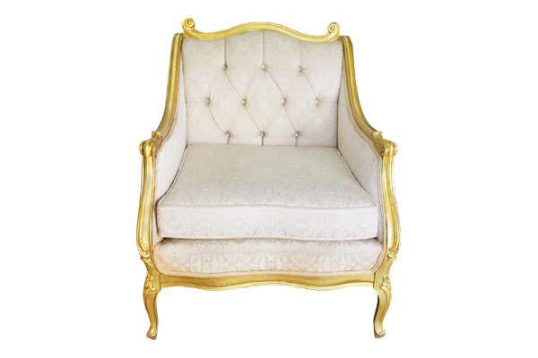 Gloria: Ivory Arm Chair with Gold Trim
