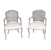 The Irvings: Whitewashed Caned Back Chairs