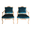 The McCoys: Vintage Peacock Green Velvet Chairs