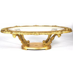 Gold Leaf Oval Coffee Table