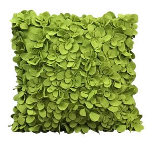 Green Felt Flowers Pillow