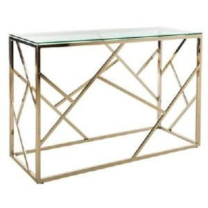 Gold Geometric Sofa Table