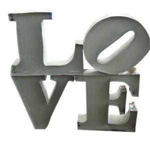 White Tin LOVE Stacked sign (LRG)