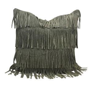 Dark Grey Fringe Pillow